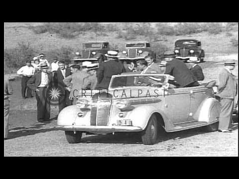 US President Franklin D. Roosevelt and officials survey drought area in Bismarck,...HD Stock Footage