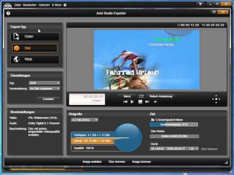 Übersicht über Exportmöglichkeiten in Avid studio und Pinnacle Studio