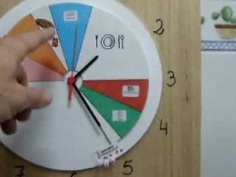 Reloj adaptado con horario escolar youtube - Reloj de pared adhesivo ...