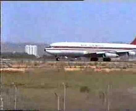 Air Gambia 707 taking off from Faro, Portugal