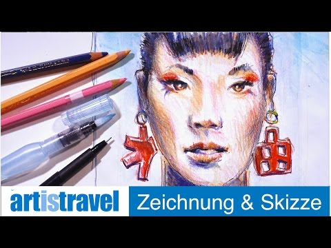 Ganz einfach Zeichnen lernen 21: Gesicht mit Aquarellstiften