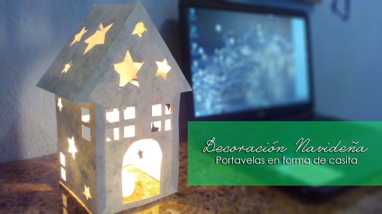 Porta velas navide o en forma de casa decoraci n - Porta velas navidenas ...