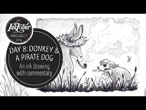 InkTober Day 8: Donkey and a pirate dog