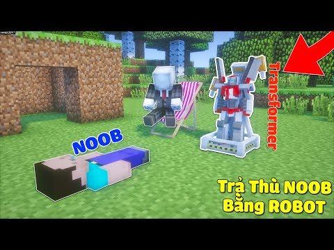 TRẢ THÙ NOOB BẰNG ROBOT BIẾN HÌNH TRANSFORMER CỰC MẠNH TRONG MCPE   Thử Thách SlenderMan