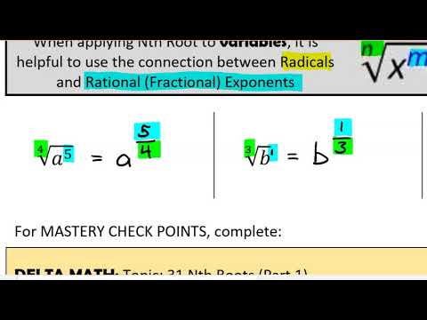 31 - Simplifying Nth Root Radicals (VIDEO)