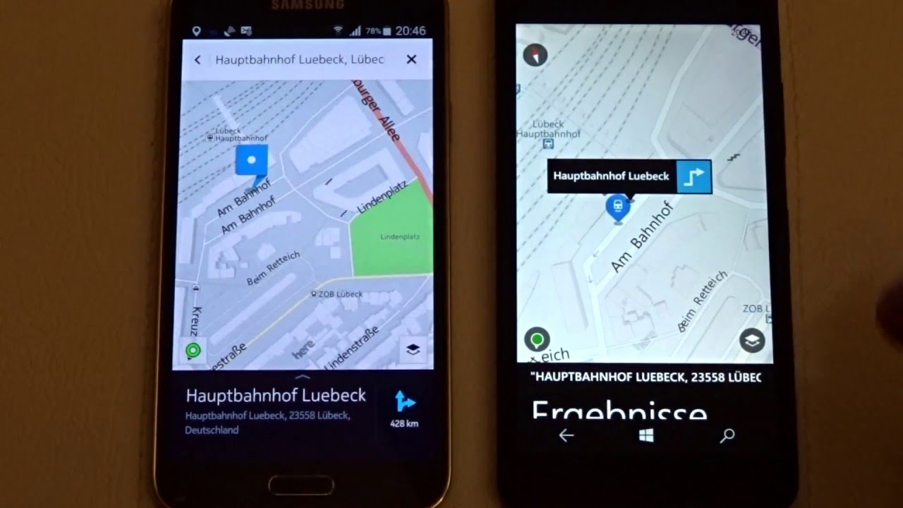 HERE Maps auf Android vs. Windows 10 Mobile - Download, Kartengröße Download Map Android on