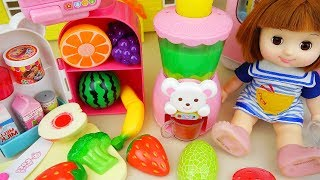 Fruit juice maker and baby doll kitchen food toys play