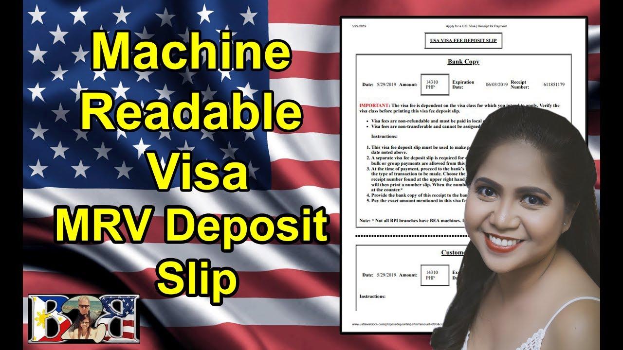 MACHINE READABLE VISA APPLICATION FEE   MRV DEPOSIT SLIP   How to Download!