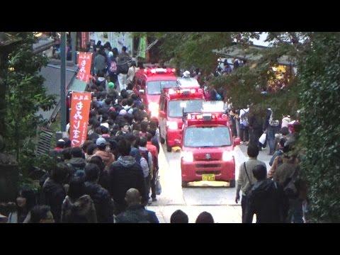 《東京消防庁》高尾山に山岳救助隊!登山者をかき分けながら緊急走行で入山する消防車とパトカー