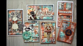 Six cards-use washitape and paperscraps -tutorial