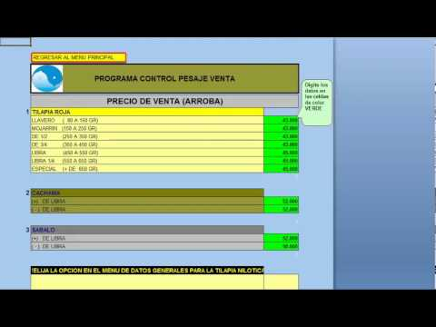 Programa computador control pesaje venta mojarra cachama y for Tabla de alimentacion para tilapia roja