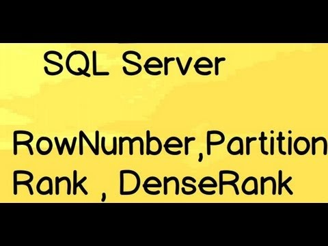SQL Server interview question :- Explain RowNumber,Partition,Rank and DenseRank ?