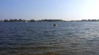 DIY fishing catamaran, test run 2.5h outboard