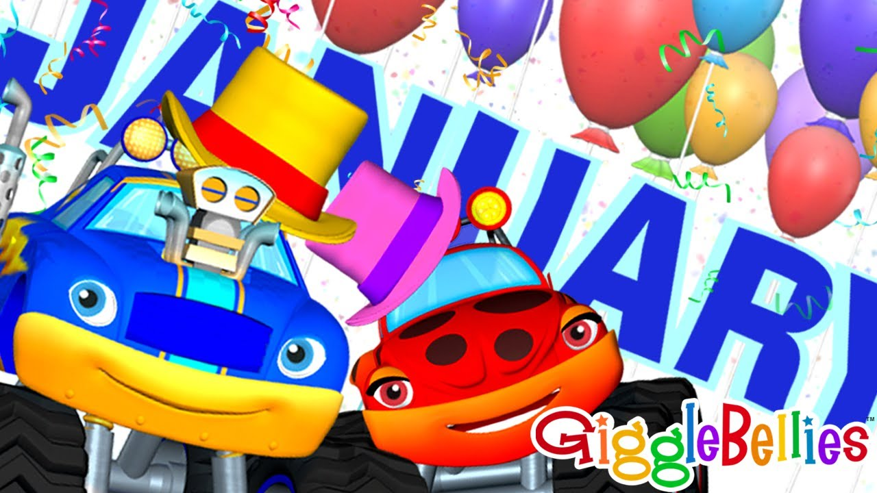 Monster Trucks For Children - Learn Months of Year & Days of Week, Calendar  - Happy New Year!