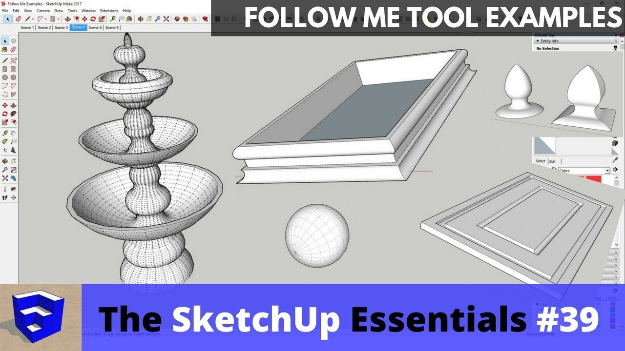 Follow Me Tool Examples in SketchUp - The SketchUp Essentials #39