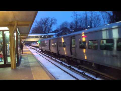 3 Bombardier M7A trains At Scarsdale Harlem Line Metro North with snow shots