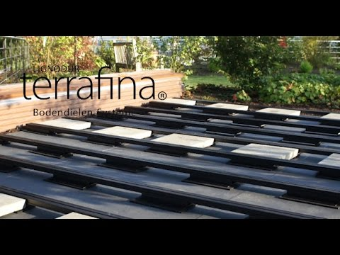 verlegen einer terrafina terrasse wpc unterkonstruktion auf dachterrassen youtube. Black Bedroom Furniture Sets. Home Design Ideas
