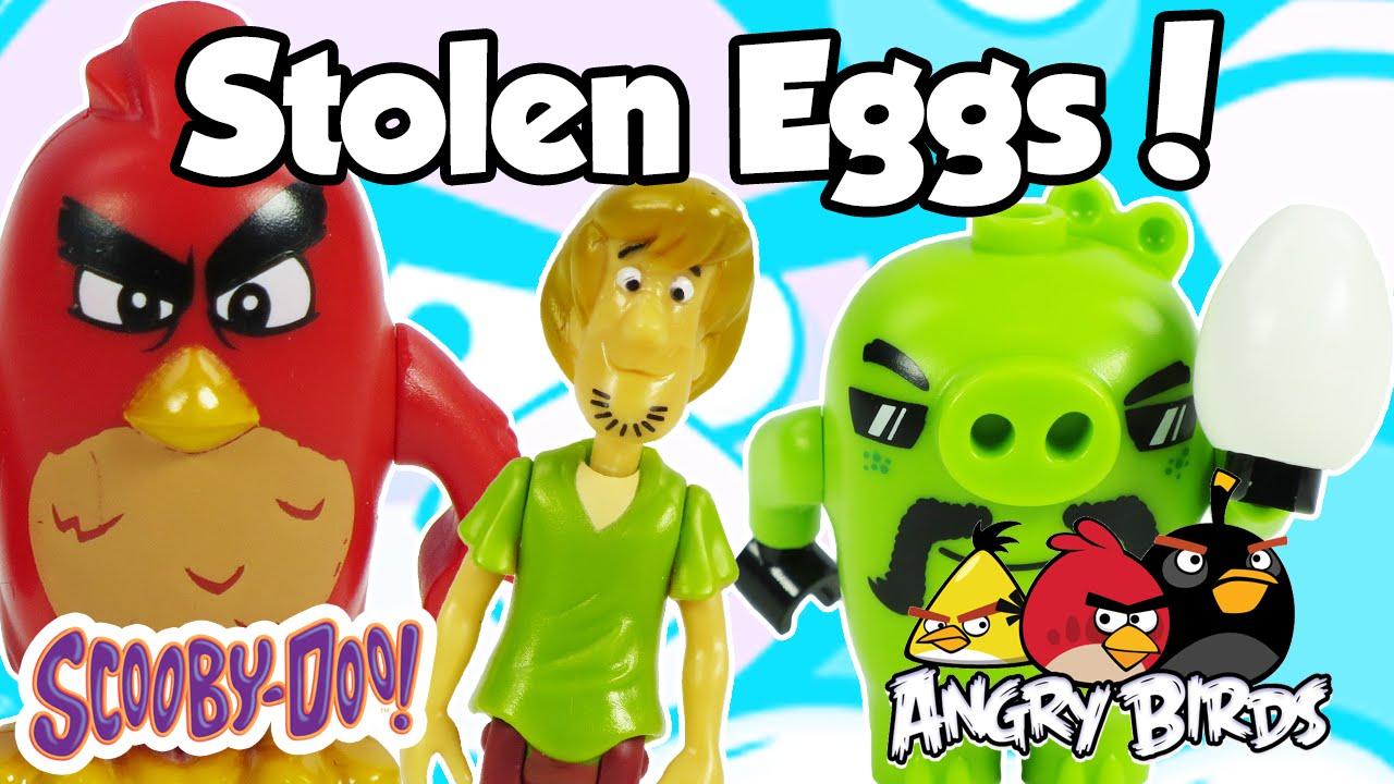 SCOOBY DOO Toys Help ANGRY BIRDS Lego Save Stolen Eggs Bird Island Egg Heist With Bad Piggies