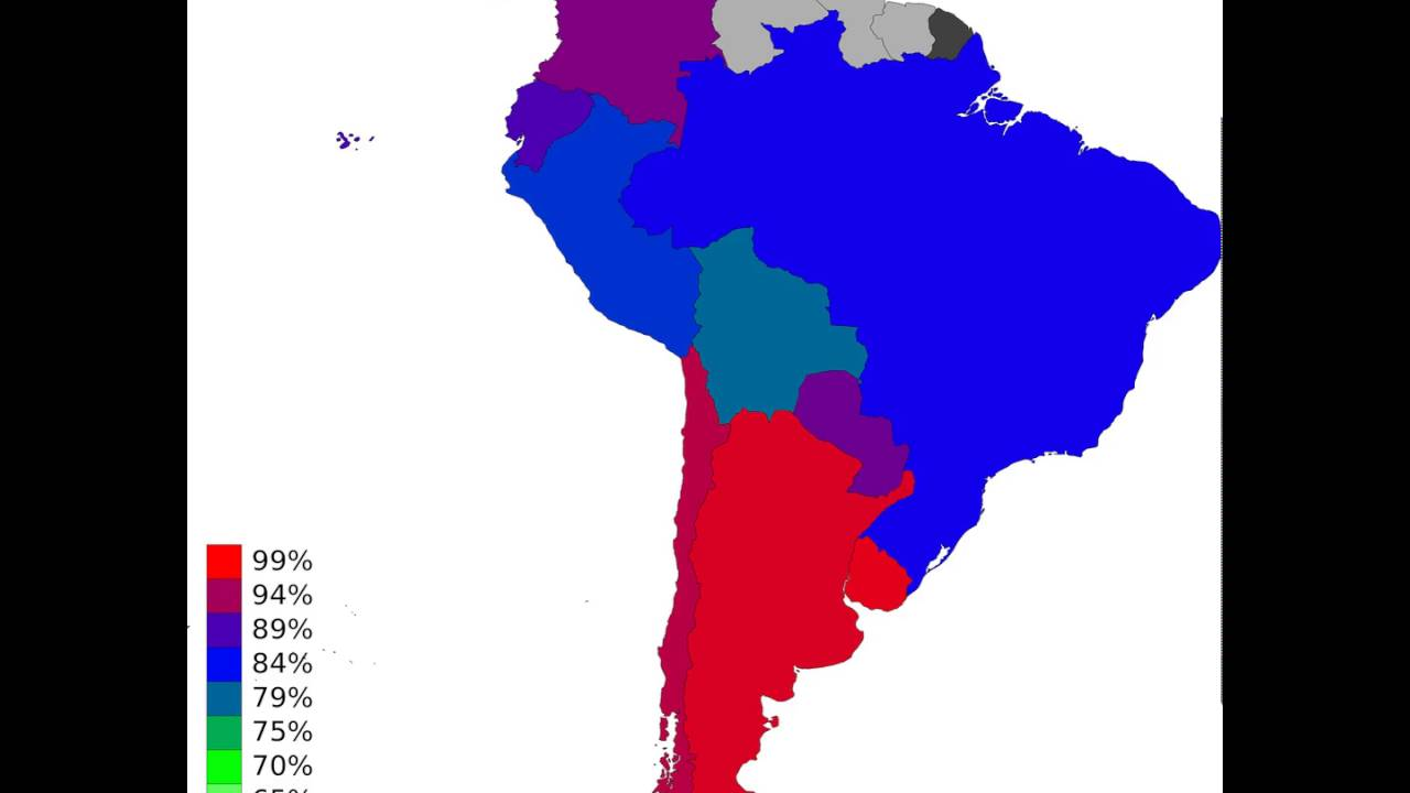 South America - Adult Literacy Rate, Population 15+ Years, Female ...