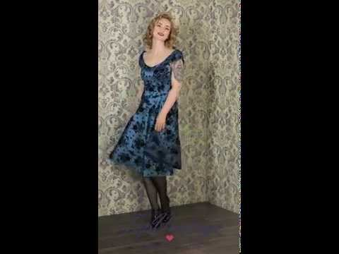 TopVintage - 40s Classy Floral Swing Dress in Blue