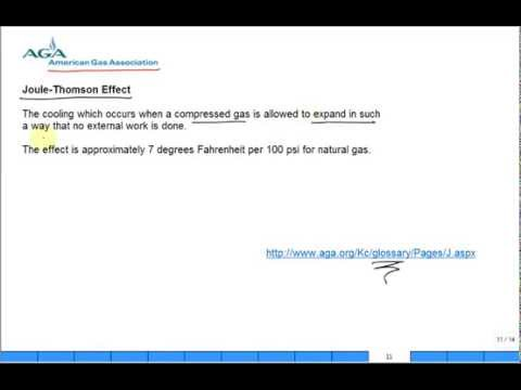 Joule Thomson effect in natural gas pipeline