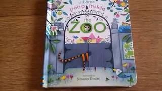 Peep inside the Zoo. Usborne. Книга о животных в зоопарке  на английском.