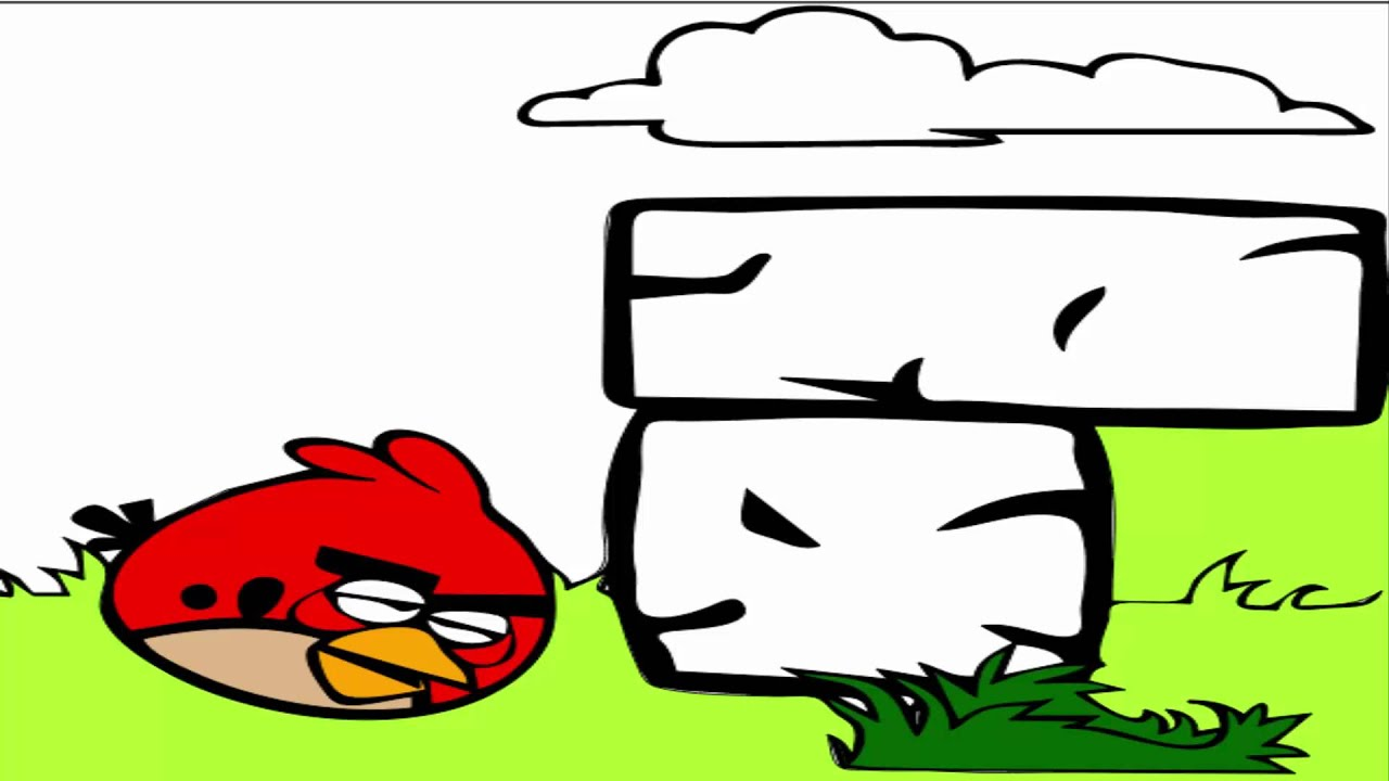 Angry Birds Coloring Pages - Red Angry Bird - YouTube