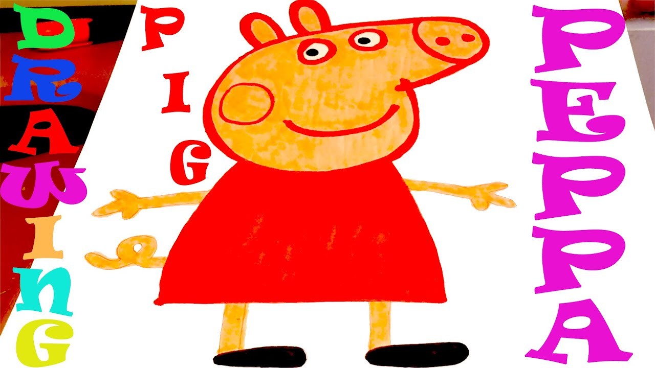 How To Draw Peppa Pig Easy For Kids And Color From Peppa Pig Cartoon Mrusegoodart