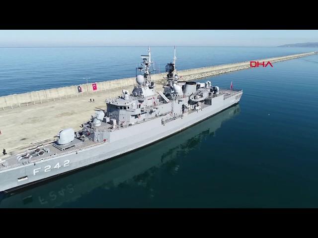 Trabzon'da deniz üssü kurulacak alana ilk askeri gemi demirledi