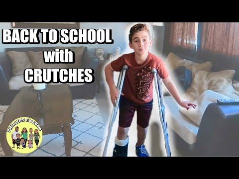KIDS FIRST DAY BACK TO SCHOOL with CRUTCHES for his BROKEN ANKLE | GOING to CLASS with BROKEN BONE