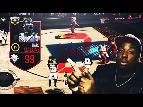 NBA LIVE MOBILE | NEW 99 OVR ULTIMATE LEGEND KARL MALONE REVIEW/GAMEPLAY!!!