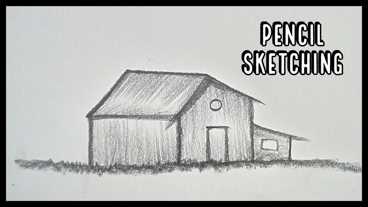 How to draw hut pencil shading pencil sketching step by step