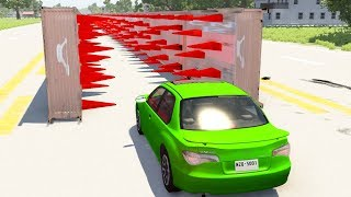 Beamng drive - Parallel Spike Walls Tear Car