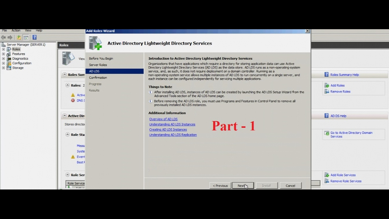 Server 2008 - ADLDS(Part -1) - Installation, configuration and replication  of ADLDS