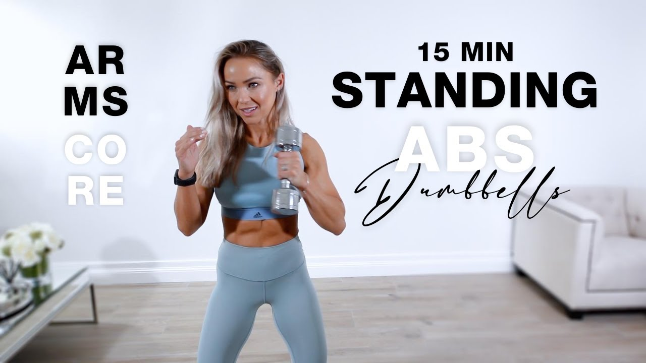 15 Min STANDING ABS WORKOUT   Arms + Core with Dumbbells