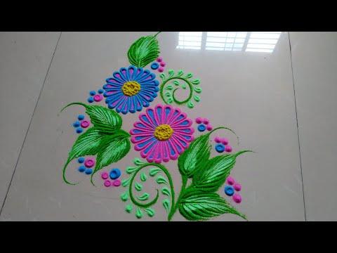 How to make very  easy and beautiful rangoli design by Jyoti Raut Rangoli