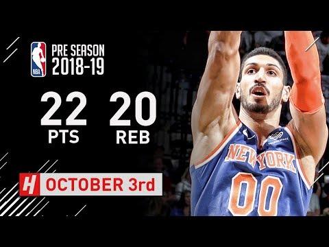 Enes Kanter Full Highlights Knicks vs Nets - 2018.10.03 - 22 Pts, 20 Rebounds!