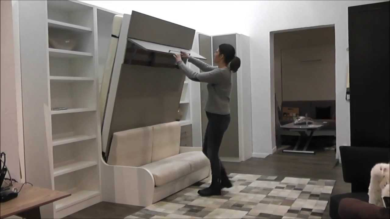 D monstration armoire lit escamotable campus youtube - Lit mural rabattable ikea ...