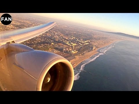 777 ENGINE ROAR | United 777-200ER Sunset Takeoff from Los Angeles International Airport!