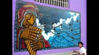 Arte Mural Contemporaneo Pintando Inca en Lince. Musico con zampoña, tour cusco  Machu picchu