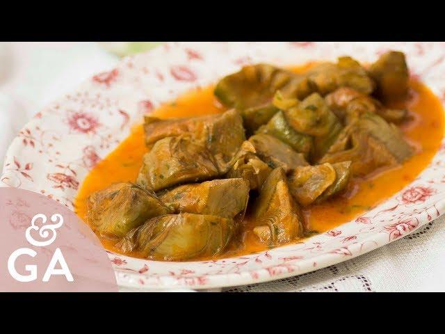 Alcachofas en salsa de pimentón   Receta de alcachofas vegana