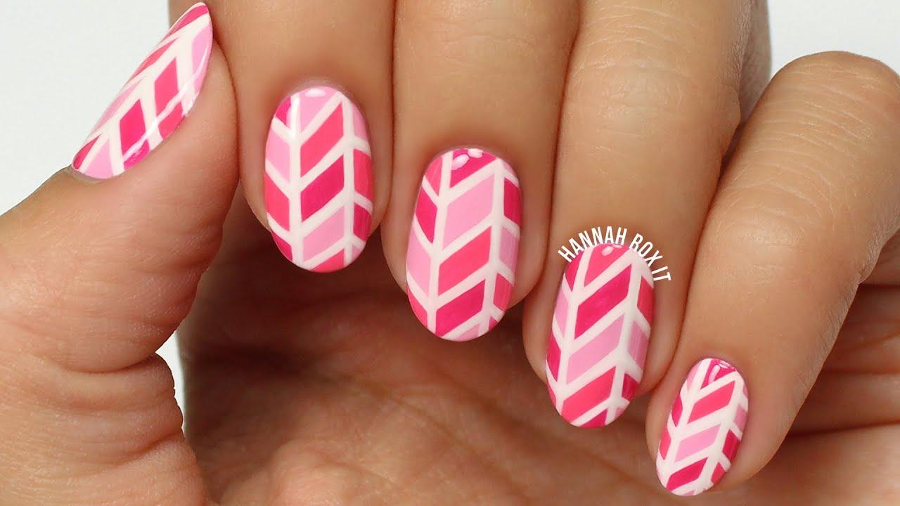 herringbone print nail art