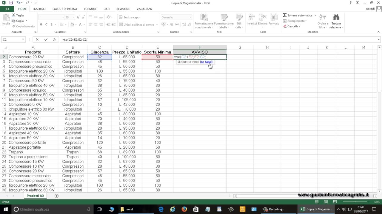 Excel 2013 Confronta Quantità E Avvisa Quando Le Scorte Di Magazzino Stanno Per Finire Se