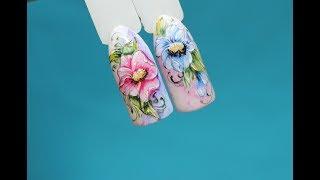 Акварельная роспись урок№2.Завороты лепестков в цветке.Как нарисовать завороты в цветах