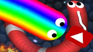NEW WORLD RECORD Hunting Giant Snake! Slither.io Biggest Rainbow Snake Ever ( Slither.io Gameplay )