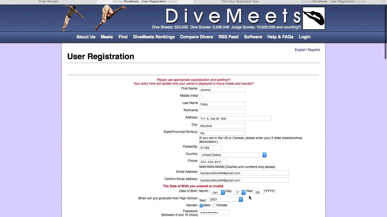 Divemeets com Registration