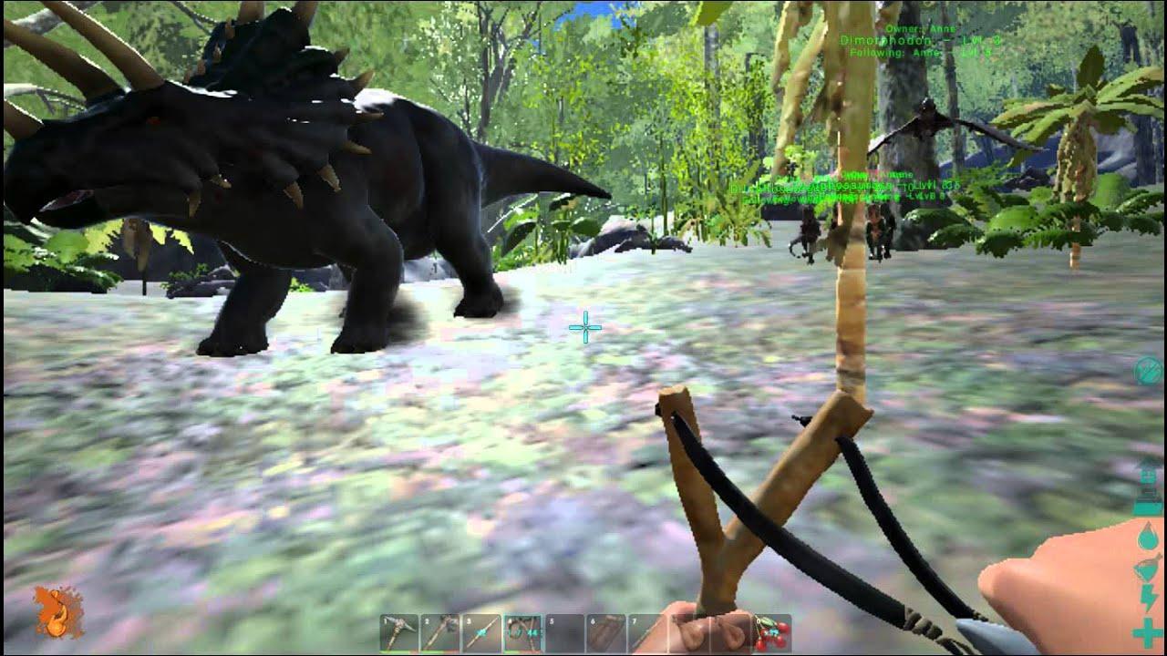 [ARK]方舟:生存進化 雙脊龍(Dilophosaur)*4+雙型齒翼龍(Dimorphodon) VS 三角龍(Trike) - YouTube