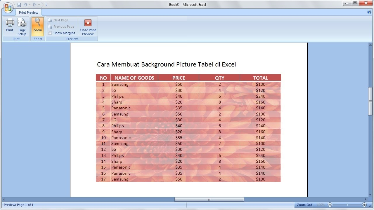 Excel 2007 Tutorial Cara Membuat Tabel Dengan Background Gambar Di Excel Youtube