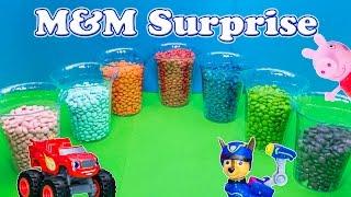 SURPRISE M&M Worlds Biggest Paw Patrol + Frozen + Blaze + Peppa Surprise Eggs Candy Video