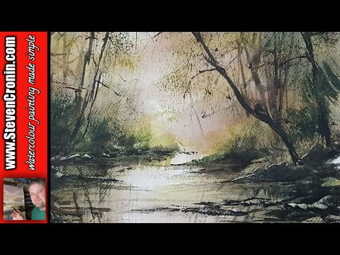 How To Paint A Simple Woodland Stream In Watercolour Youtube
